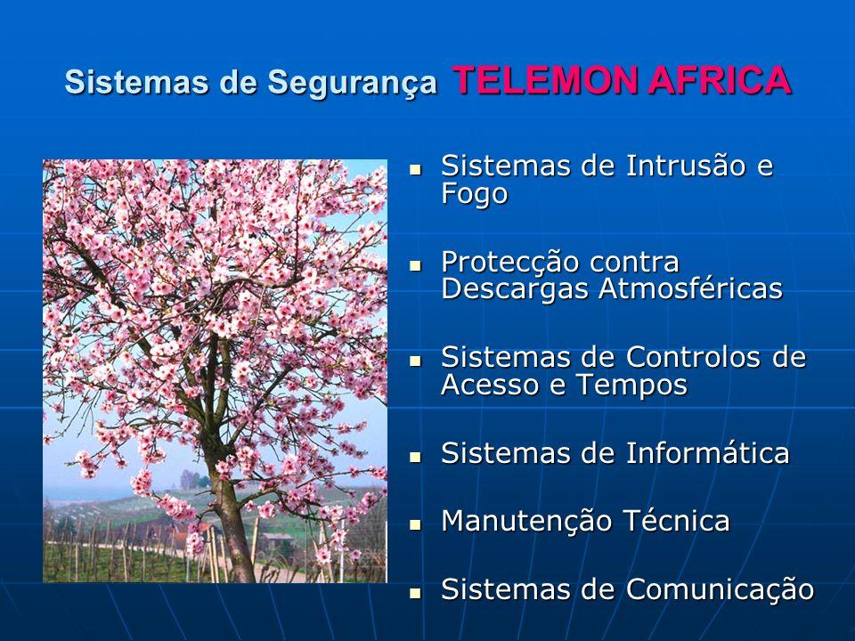 Sistemas de Segurança TELEMON AFRICA Sistemas de Intrusão e Fogo Sistemas de Intrusão e Fogo Protecção contra Descargas Atmosféricas Protecção contra