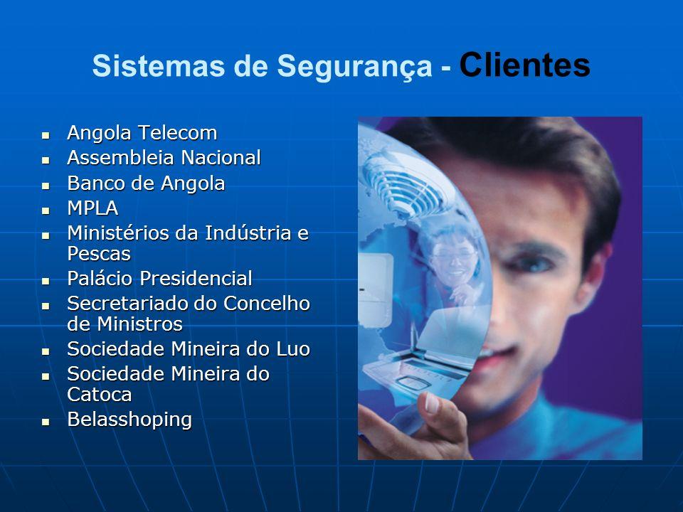 Sistemas de Segurança - Clientes Angola Telecom Angola Telecom Assembleia Nacional Assembleia Nacional Banco de Angola Banco de Angola MPLA MPLA Minis