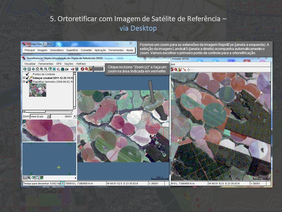 Fizemos um zoom para as extensões da imagem RapidEye (janela a esquerda). A exibição da imagem Landsat 5 (janela a direita) acompanha automaticamente