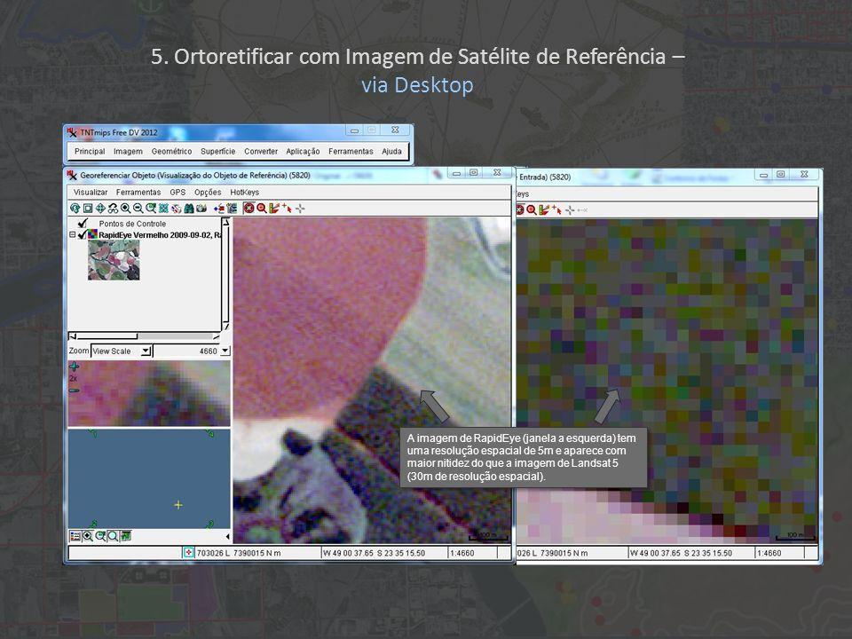 A imagem de RapidEye (janela a esquerda) tem uma resolução espacial de 5m e aparece com maior nitidez do que a imagem de Landsat 5 (30m de resolução e