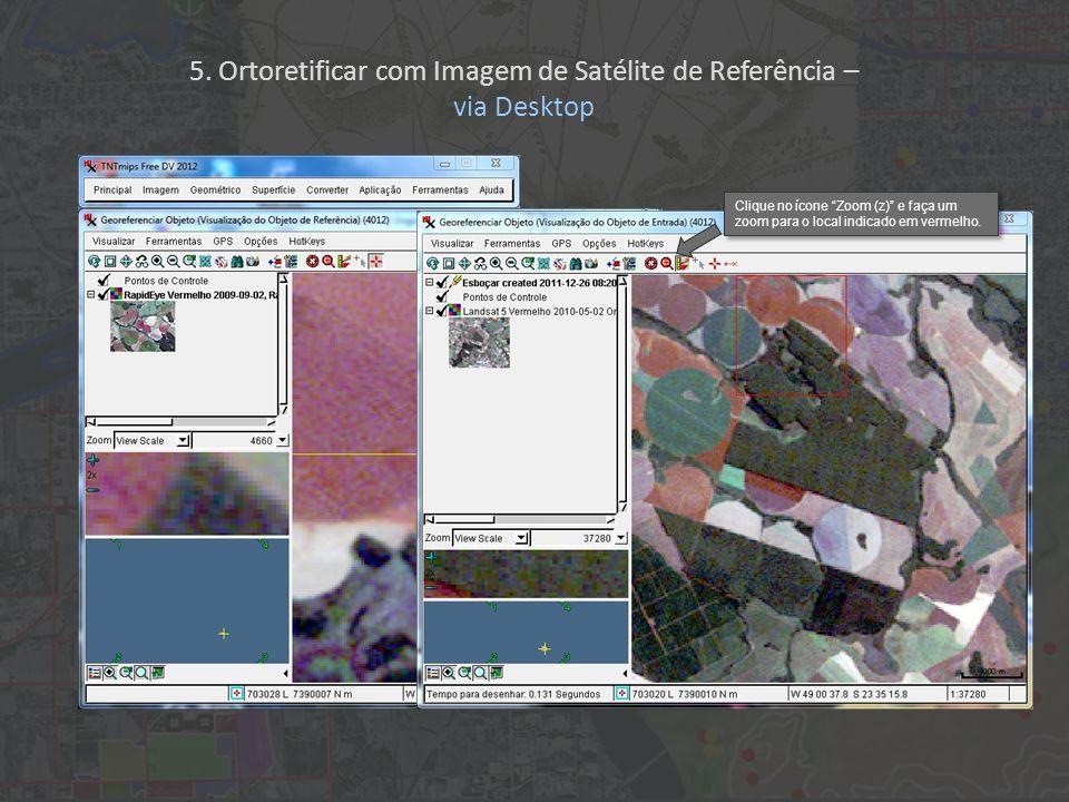 Clique no ícone Zoom (z) e faça um zoom para o local indicado em vermelho. 5. Ortoretificar com Imagem de Satélite de Referência – via Desktop