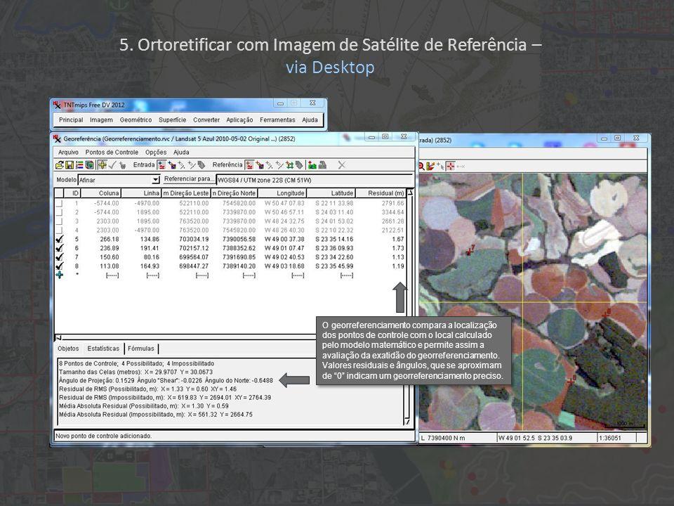 O georreferenciamento compara a localização dos pontos de controle com o local calculado pelo modelo matemático e permite assim a avaliação da exatidã