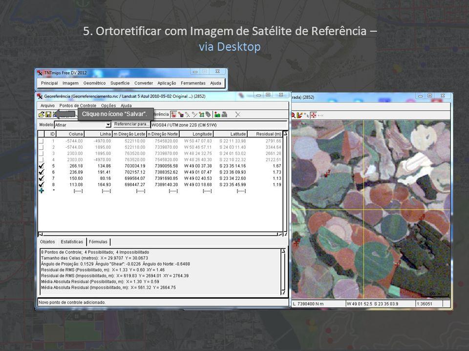Clique no ícone Salvar. 5. Ortoretificar com Imagem de Satélite de Referência – via Desktop
