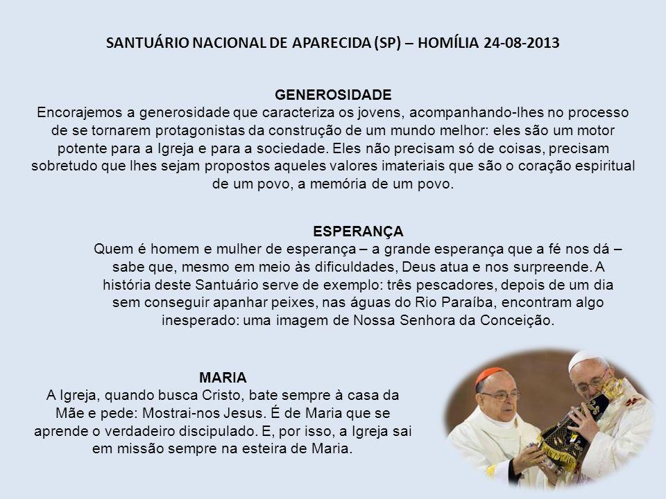 PRAIA DE COPACABANA (RJ) – HOMILIA 23-08-2013 FÉ COMPARTILHADA A experiência deste encontro não pode ficar trancafiada na vida de vocês ou no pequeno