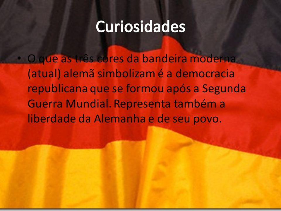 O que as três cores da bandeira moderna (atual) alemã simbolizam é a democracia republicana que se formou após a Segunda Guerra Mundial. Representa ta