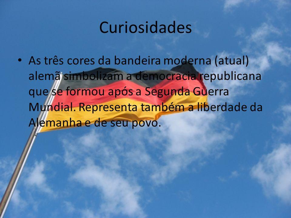 Curiosidades As três cores da bandeira moderna (atual) alemã simbolizam a democracia republicana que se formou após a Segunda Guerra Mundial. Represen