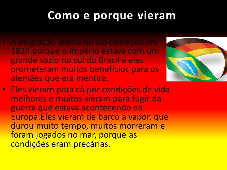 Como e porque vieramComo e porque vieram A imigração alemã no sul começou em 1824 porque o Império estava com um grande vazio no sul do Brasil e eles
