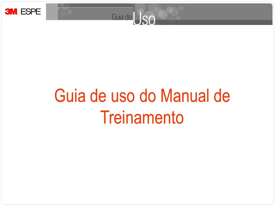 Guia de uso do Manual de Treinamento