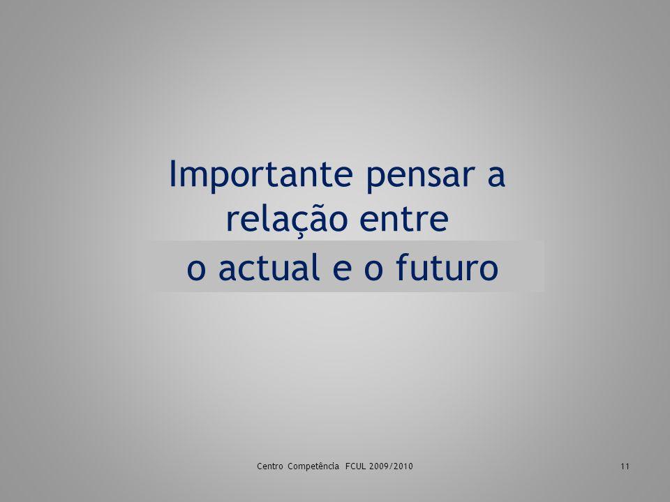 Centro Competência FCUL 2009/201011 Importante pensar a relação entre presencial e o online o actual e o futuro