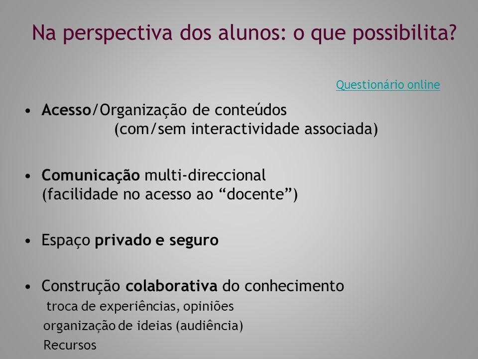 Na perspectiva dos alunos: o que possibilita.
