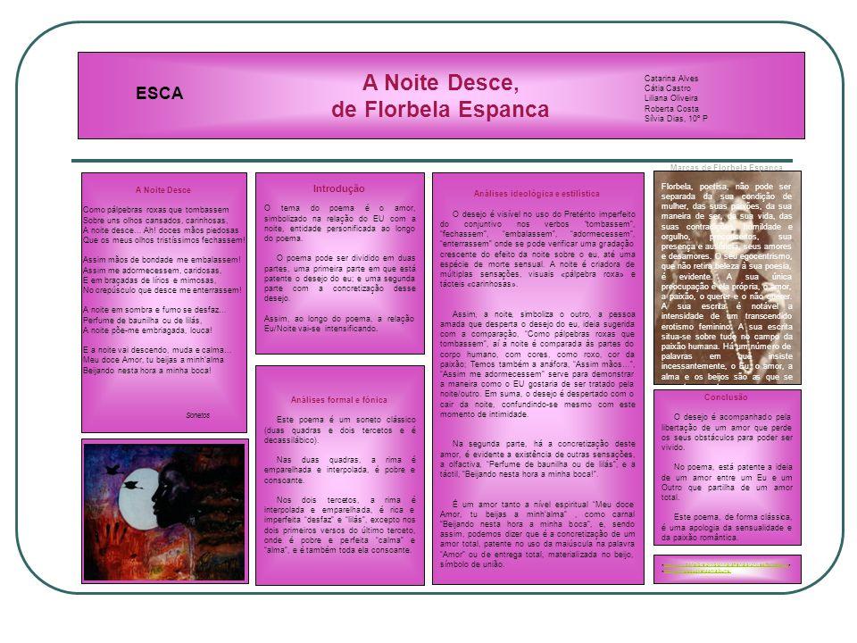 A Noite Desce, de Florbela Espanca Introdução O tema do poema é o amor, simbolizado na relação do EU com a noite, entidade personificada ao longo do poema.