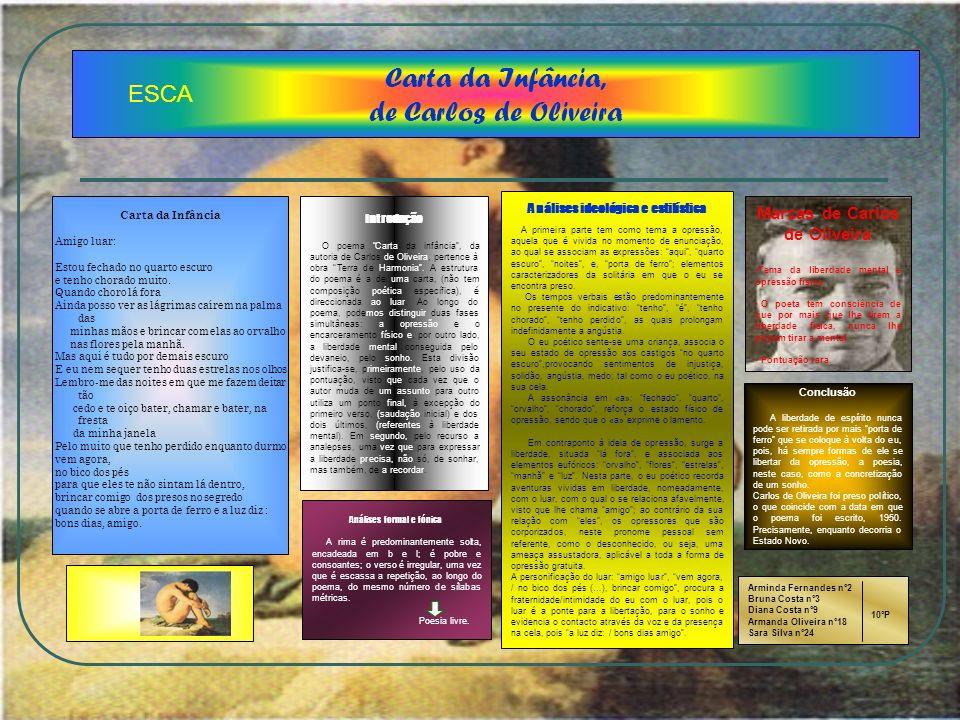 Carta da Infância, de Carlos de Oliveira Introdução O poema Carta da infância, da autoria de Carlos de Oliveira, pertence à obra Terra de Harmonia. A