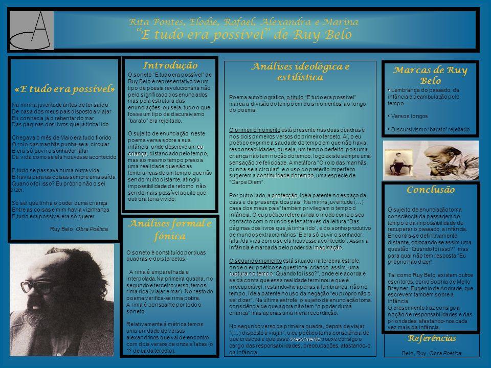 Rita Pontes, Elodie, Rafael, Alexandra e Marina E tudo era possível de Ruy Belo Introdução O soneto E tudo era possível de Ruy Belo é representativo d