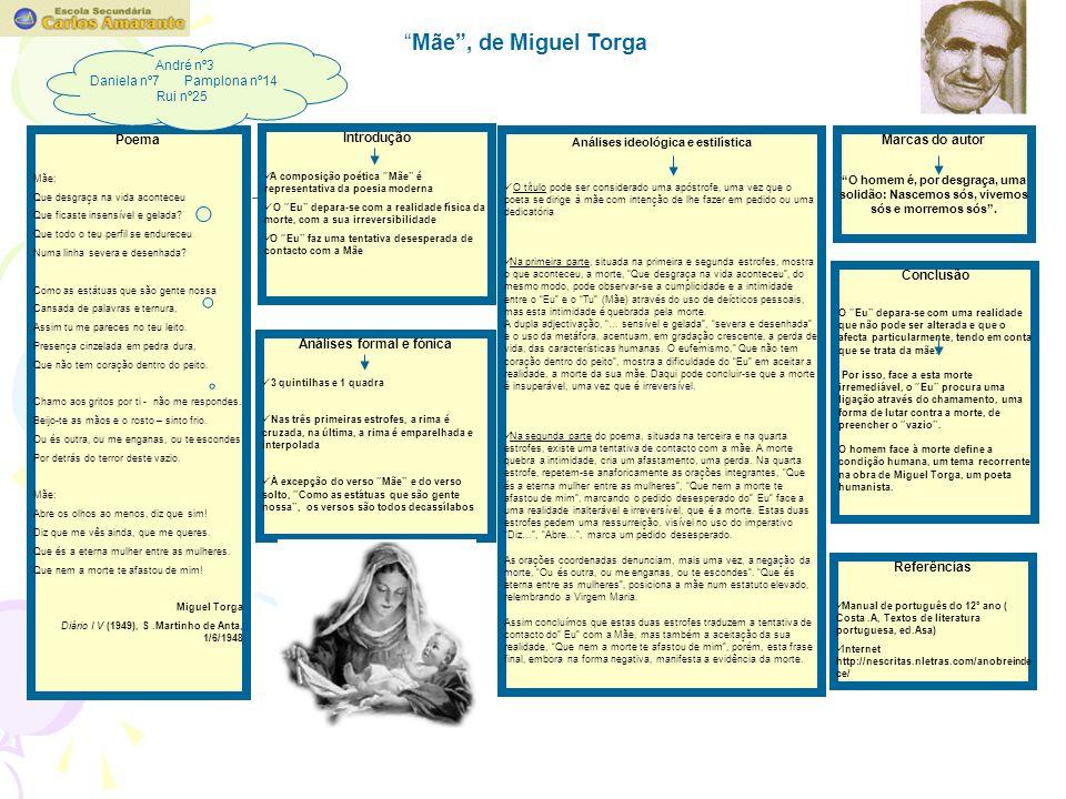 Mãe, de Miguel Torga Poema Mãe: Que desgraça na vida aconteceu Que ficaste insensível e gelada.