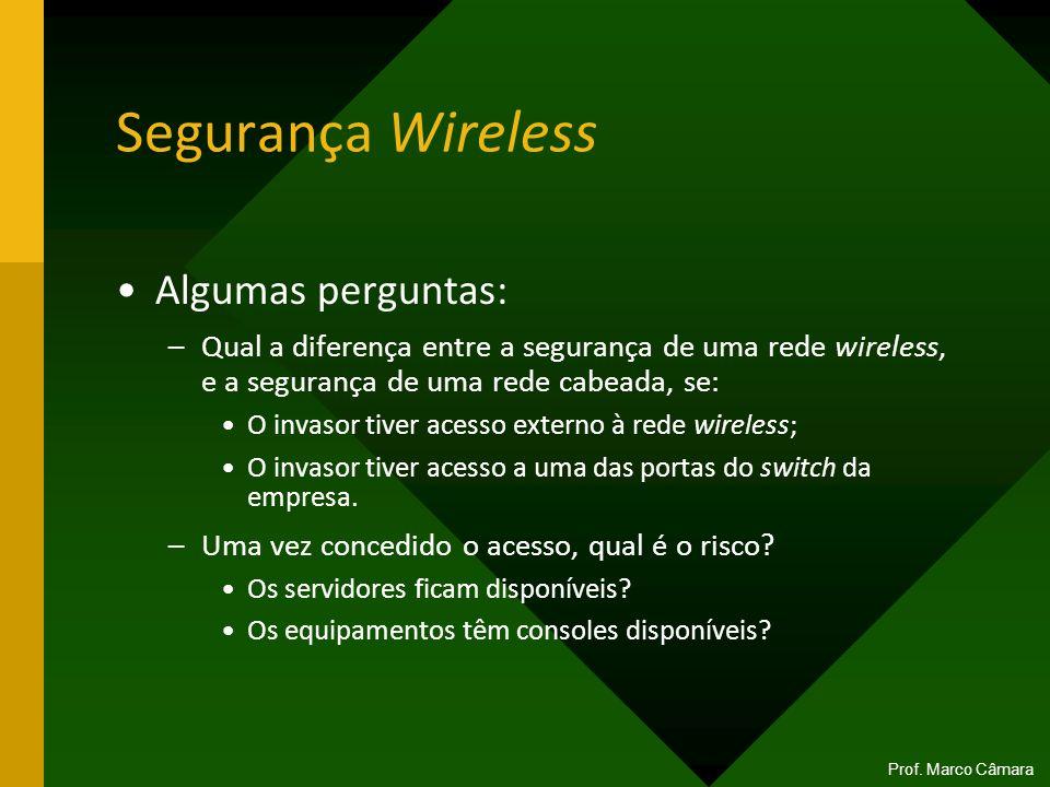 Segurança Wireless Algumas perguntas: –Qual a diferença entre a segurança de uma rede wireless, e a segurança de uma rede cabeada, se: O invasor tiver