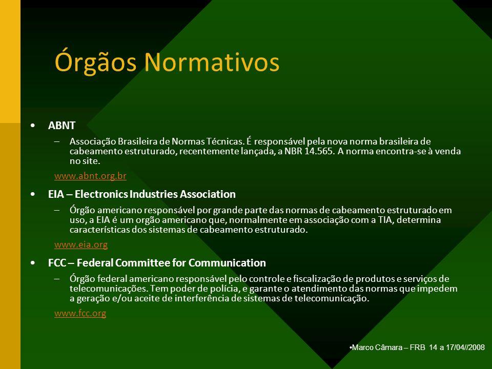 Marco Câmara – FRB 14 a 17/04//2008 Órgãos Normativos ABNT –Associação Brasileira de Normas Técnicas. É responsável pela nova norma brasileira de cabe