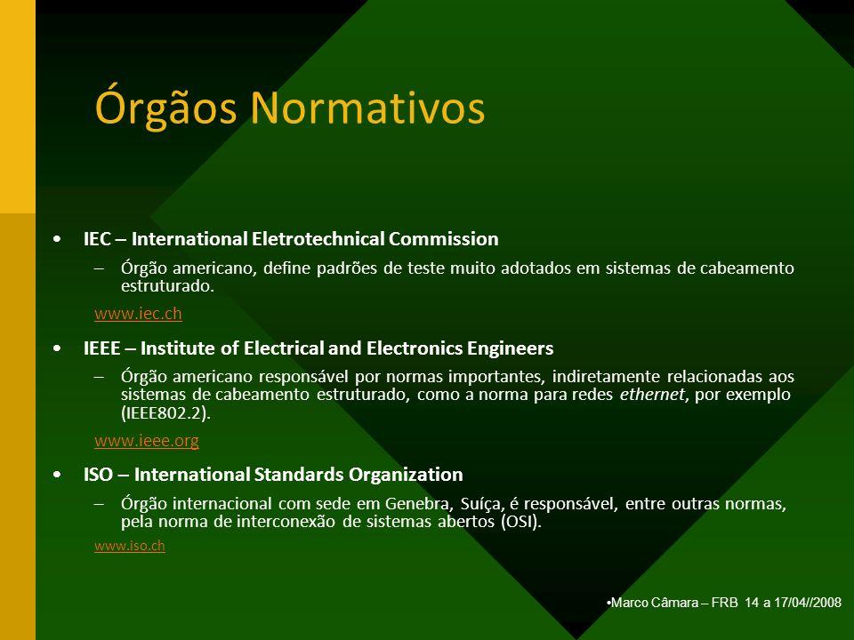 Marco Câmara – FRB 14 a 17/04//2008 Órgãos Normativos IEC – International Eletrotechnical Commission –Órgão americano, define padrões de teste muito a