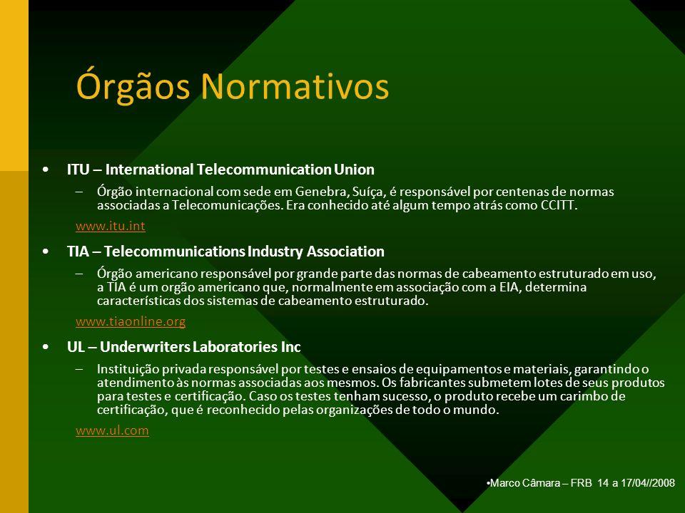 Marco Câmara – FRB 14 a 17/04//2008 Órgãos Normativos ITU – International Telecommunication Union –Órgão internacional com sede em Genebra, Suíça, é r