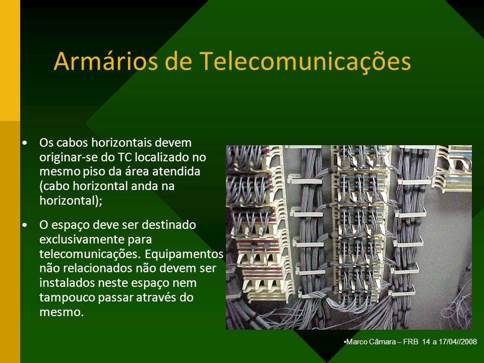 Marco Câmara – FRB 14 a 17/04//2008 Armários de Telecomunicações Os cabos horizontais devem originar-se do TC localizado no mesmo piso da área atendid