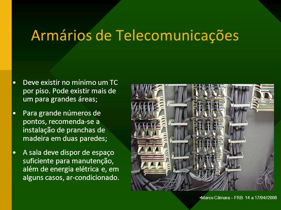 Marco Câmara – FRB 14 a 17/04//2008 Armários de Telecomunicações Deve existir no mínimo um TC por piso. Pode existir mais de um para grandes áreas; Pa