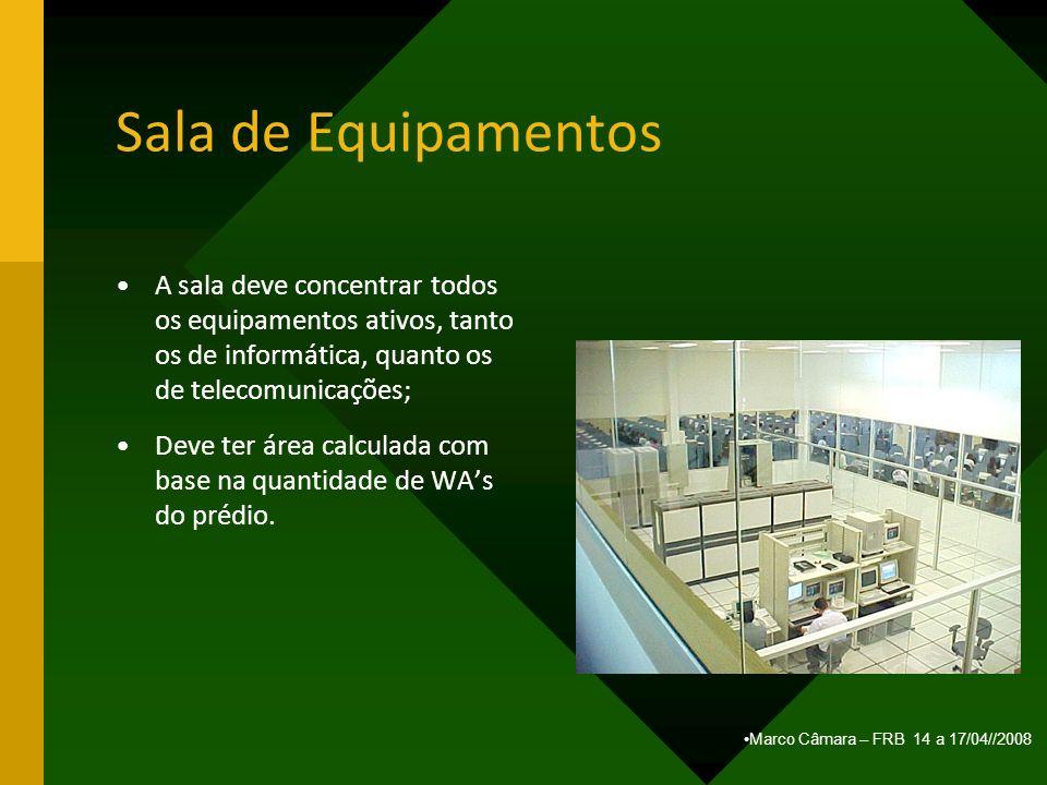 Marco Câmara – FRB 14 a 17/04//2008 Sala de Equipamentos A sala deve concentrar todos os equipamentos ativos, tanto os de informática, quanto os de te