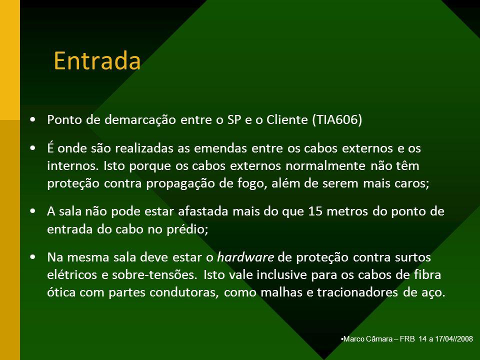 Marco Câmara – FRB 14 a 17/04//2008 Entrada Ponto de demarcação entre o SP e o Cliente (TIA606) É onde são realizadas as emendas entre os cabos extern