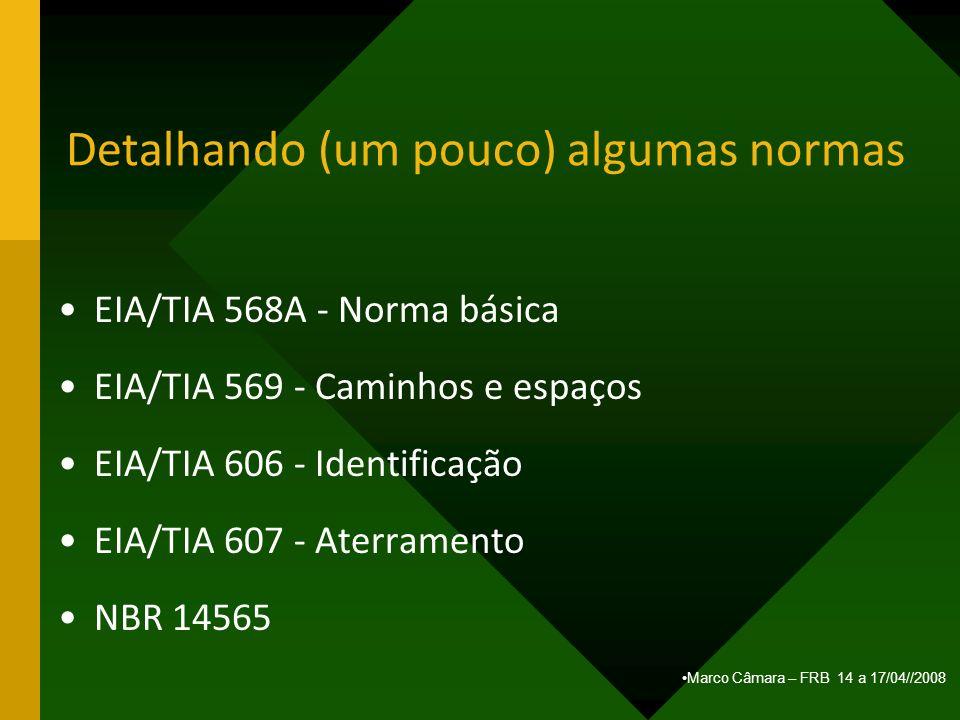 Marco Câmara – FRB 14 a 17/04//2008 Detalhando (um pouco) algumas normas EIA/TIA 568A - Norma básica EIA/TIA 569 - Caminhos e espaços EIA/TIA 606 - Id