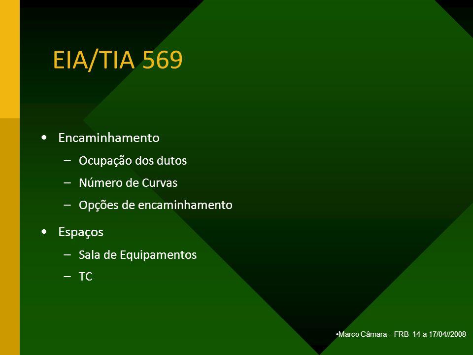 Marco Câmara – FRB 14 a 17/04//2008 EIA/TIA 569 Encaminhamento –Ocupação dos dutos –Número de Curvas –Opções de encaminhamento Espaços –Sala de Equipa