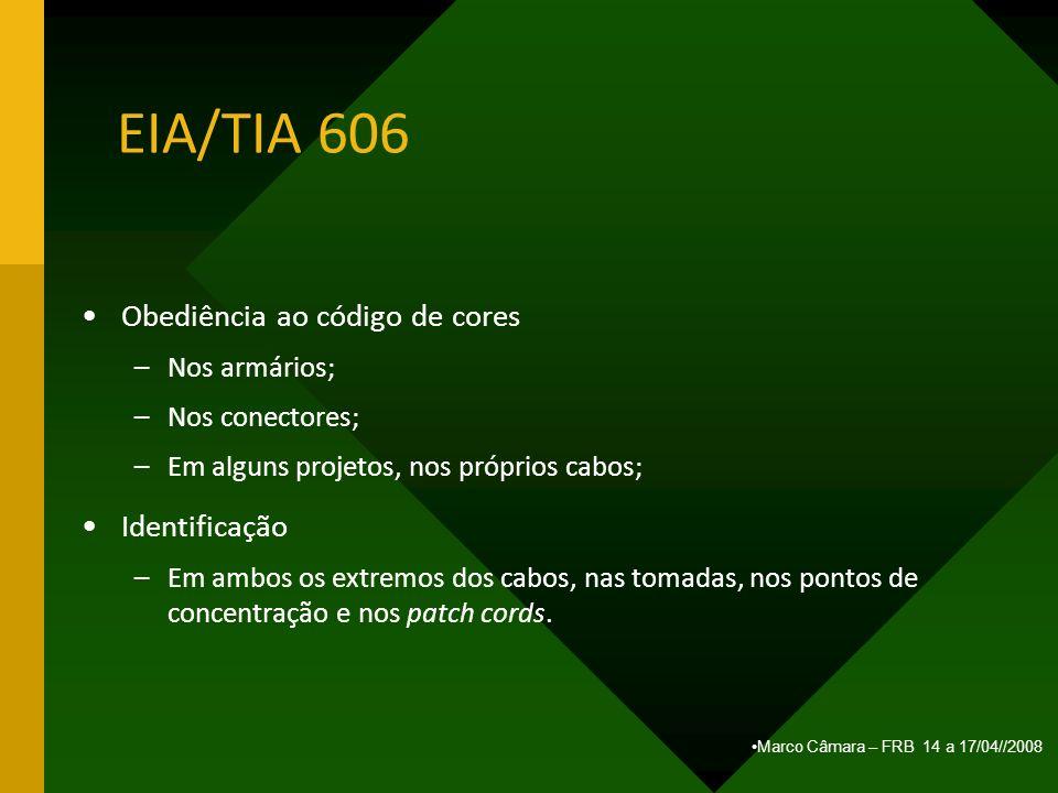Marco Câmara – FRB 14 a 17/04//2008 EIA/TIA 606 Obediência ao código de cores –Nos armários; –Nos conectores; –Em alguns projetos, nos próprios cabos;