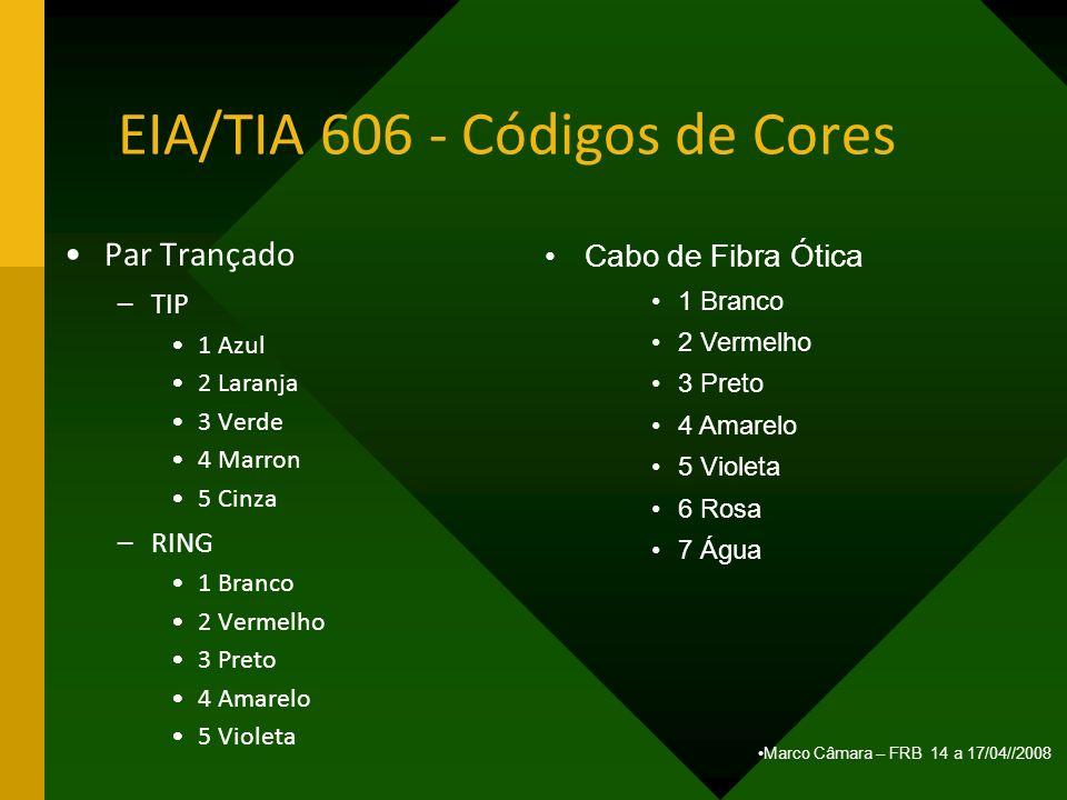 Marco Câmara – FRB 14 a 17/04//2008 EIA/TIA 606 - Códigos de Cores Par Trançado –TIP 1 Azul 2 Laranja 3 Verde 4 Marron 5 Cinza –RING 1 Branco 2 Vermel