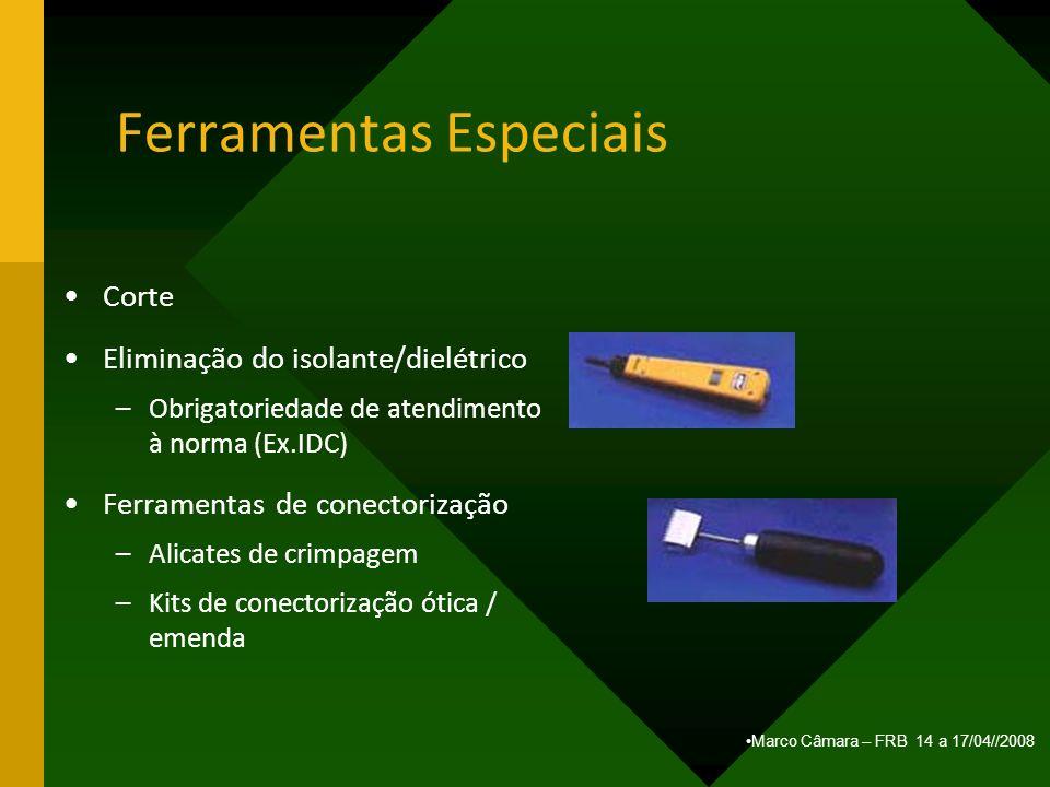 Marco Câmara – FRB 14 a 17/04//2008 Ferramentas Especiais Corte Eliminação do isolante/dielétrico –Obrigatoriedade de atendimento à norma (Ex.IDC) Fer