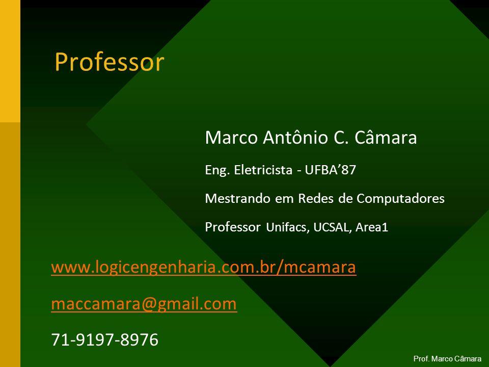 Professor Marco Antônio C. Câmara Eng. Eletricista - UFBA87 Mestrando em Redes de Computadores Professor Unifacs, UCSAL, Area1 Prof. Marco Câmara www.