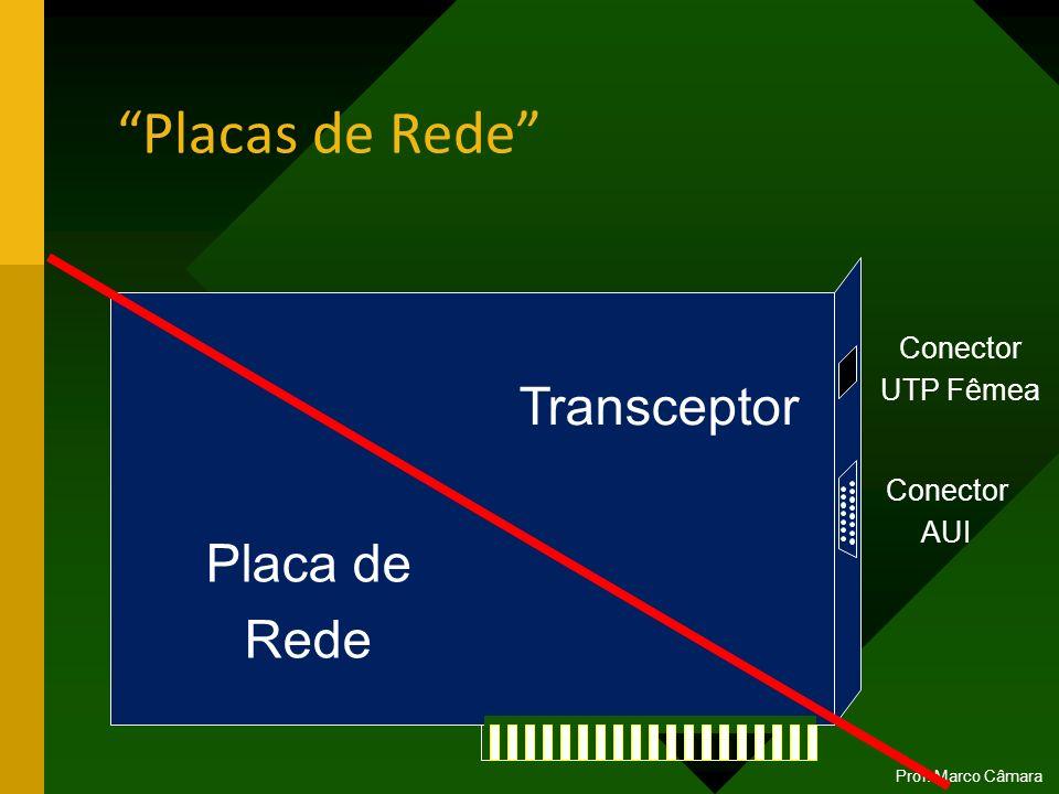 Placas de Rede Prof. Marco Câmara Placa de Rede Transceptor Conector UTP Fêmea Conector AUI