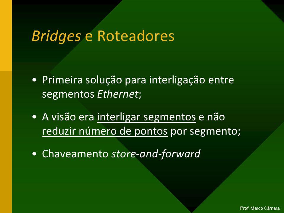 Bridges e Roteadores Primeira solução para interligação entre segmentos Ethernet; A visão era interligar segmentos e não reduzir número de pontos por