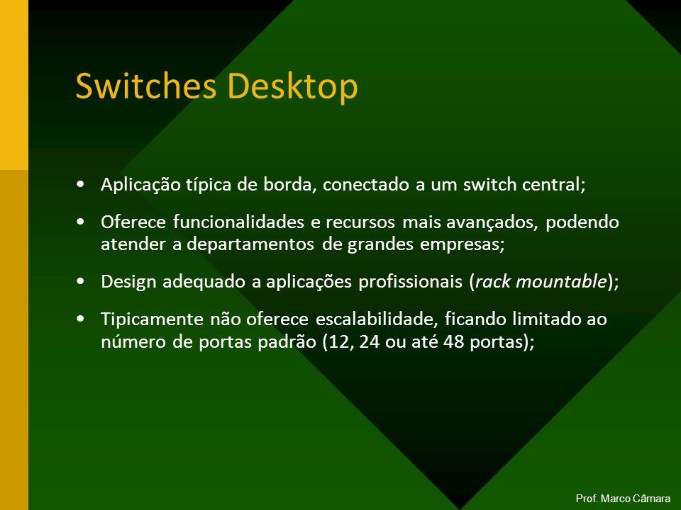 Switches Desktop Aplicação típica de borda, conectado a um switch central; Oferece funcionalidades e recursos mais avançados, podendo atender a depart