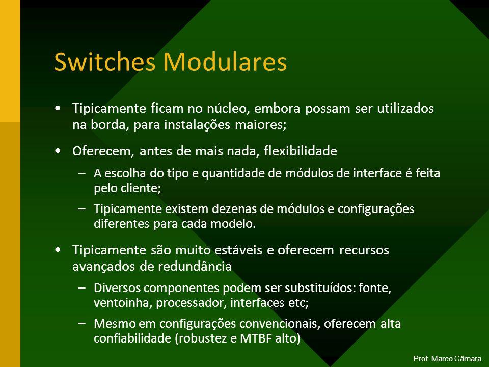 Switches Modulares Tipicamente ficam no núcleo, embora possam ser utilizados na borda, para instalações maiores; Oferecem, antes de mais nada, flexibi