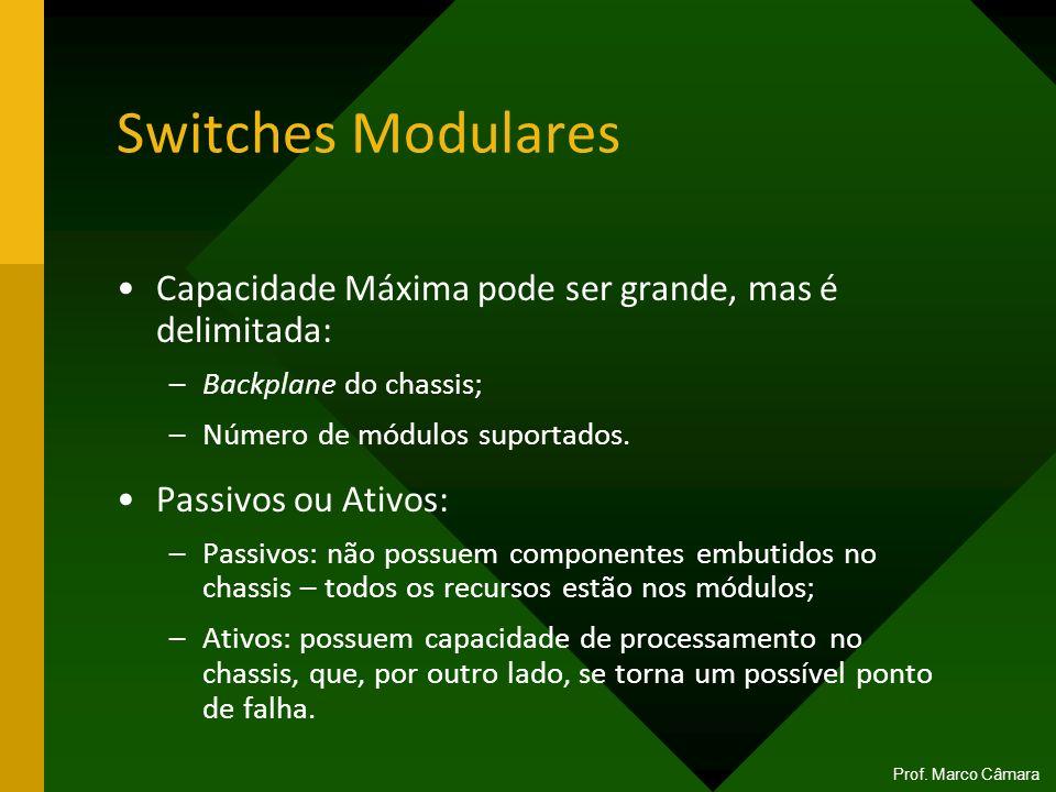 Switches Modulares Capacidade Máxima pode ser grande, mas é delimitada: –Backplane do chassis; –Número de módulos suportados. Passivos ou Ativos: –Pas