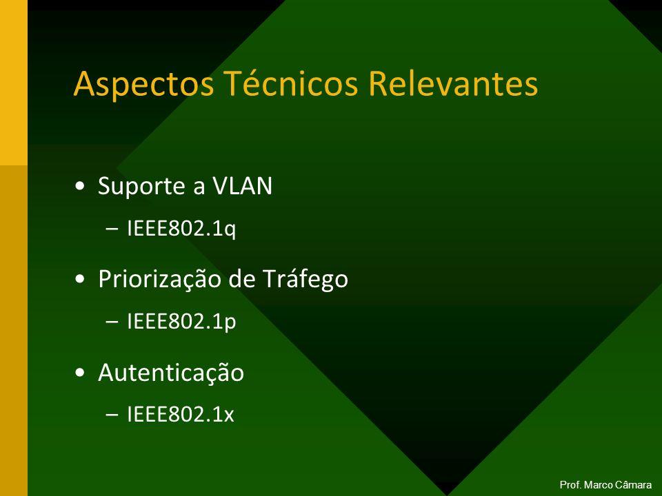 Aspectos Técnicos Relevantes Suporte a VLAN –IEEE802.1q Priorização de Tráfego –IEEE802.1p Autenticação –IEEE802.1x Prof. Marco Câmara