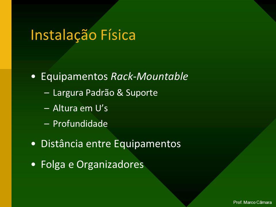Instalação Física Equipamentos Rack-Mountable –Largura Padrão & Suporte –Altura em Us –Profundidade Distância entre Equipamentos Folga e Organizadores