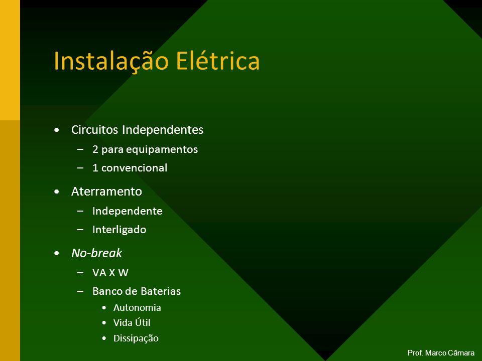 Instalação Elétrica Circuitos Independentes –2 para equipamentos –1 convencional Aterramento –Independente –Interligado No-break –VA X W –Banco de Bat