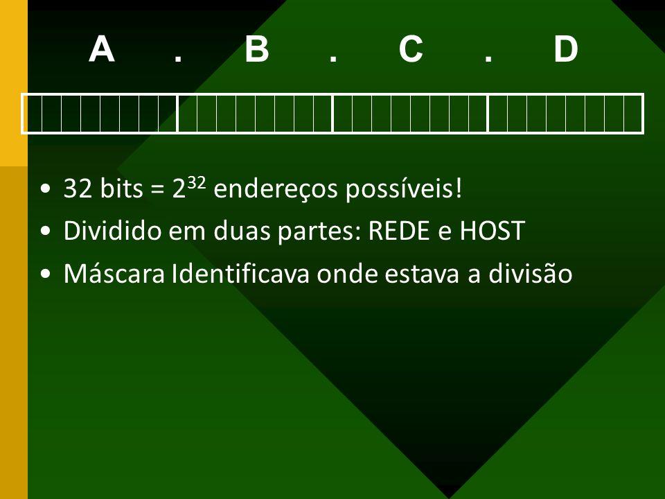 A BCD... 32 bits = 2 32 endereços possíveis! Dividido em duas partes: REDE e HOST Máscara Identificava onde estava a divisão