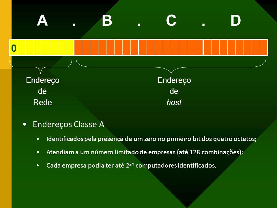 Endereço de Rede Endereço de host A BCD... Endereços Classe A Identificados pela presença de um zero no primeiro bit dos quatro octetos; Atendiam a um