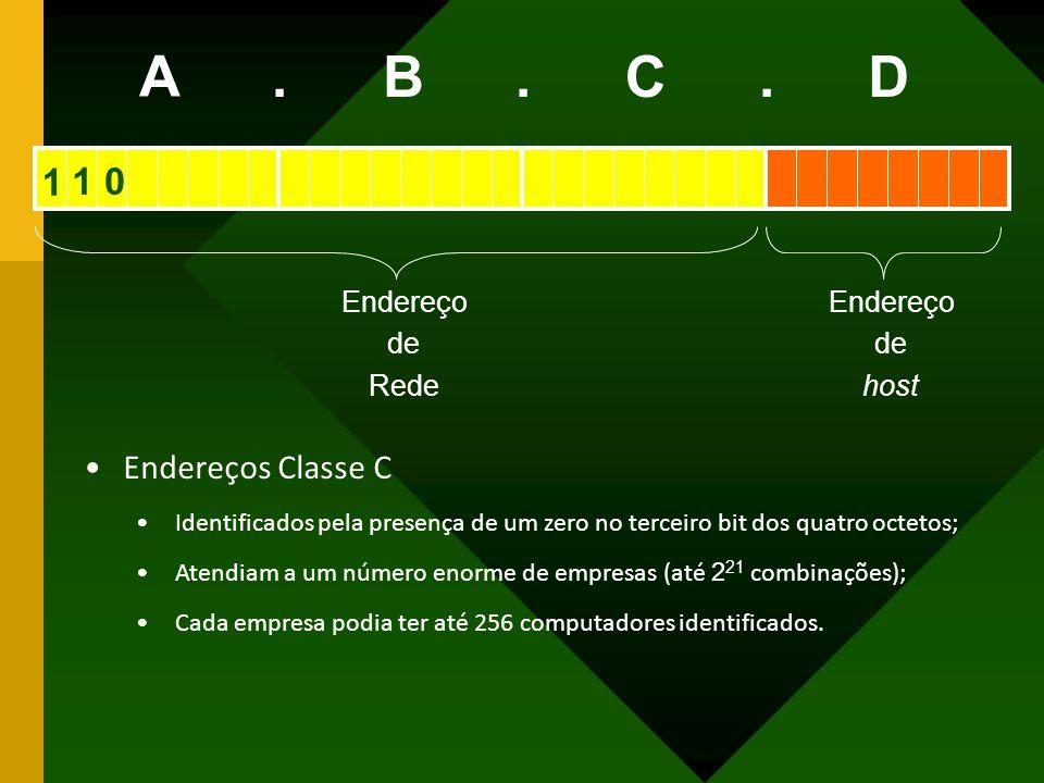 Endereço de Rede Endereço de host A BCD... Endereços Classe C Identificados pela presença de um zero no terceiro bit dos quatro octetos; Atendiam a um