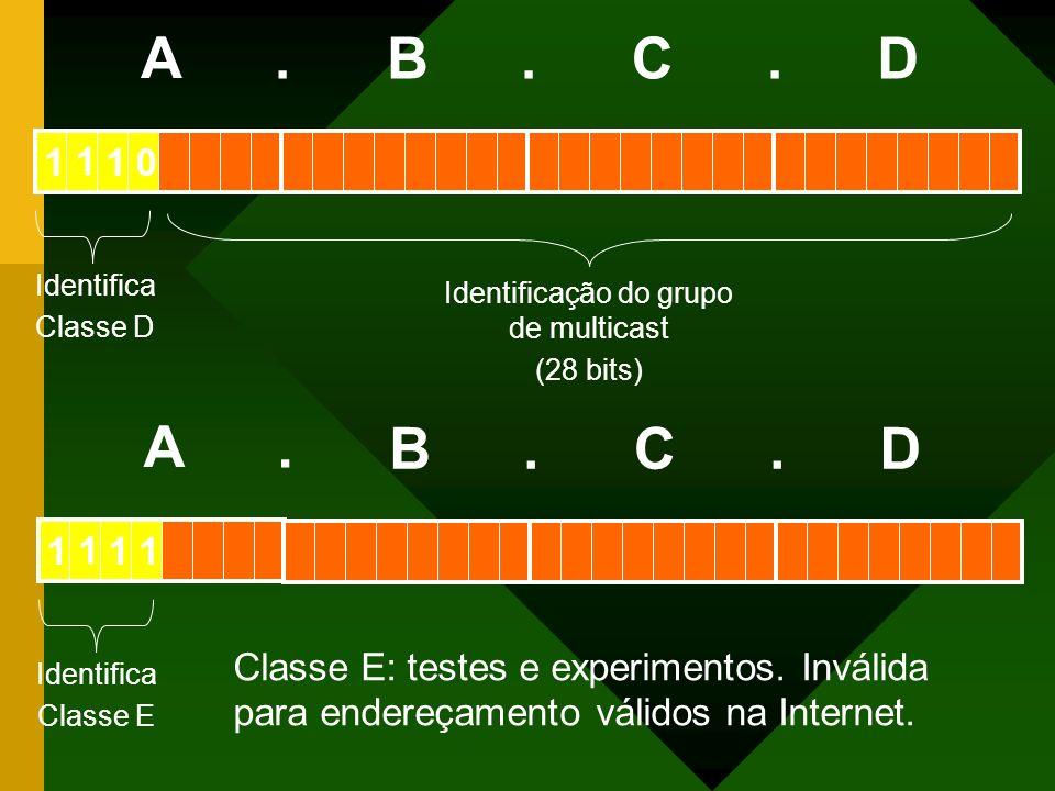 Identifica Classe D Identificação do grupo de multicast (28 bits) A BCD... 011 1 Classe E: testes e experimentos. Inválida para endereçamento válidos