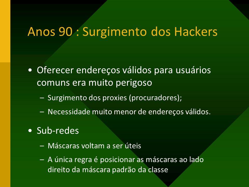 Anos 90 : Surgimento dos Hackers Oferecer endereços válidos para usuários comuns era muito perigoso –Surgimento dos proxies (procuradores); –Necessida