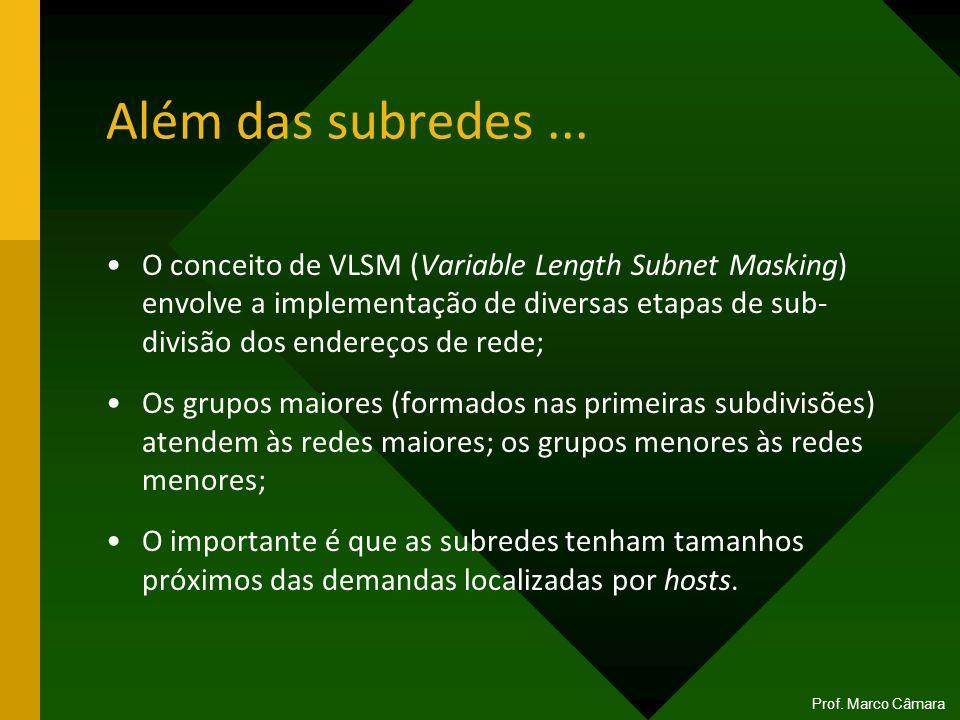Além das subredes... O conceito de VLSM (Variable Length Subnet Masking) envolve a implementação de diversas etapas de sub- divisão dos endereços de r