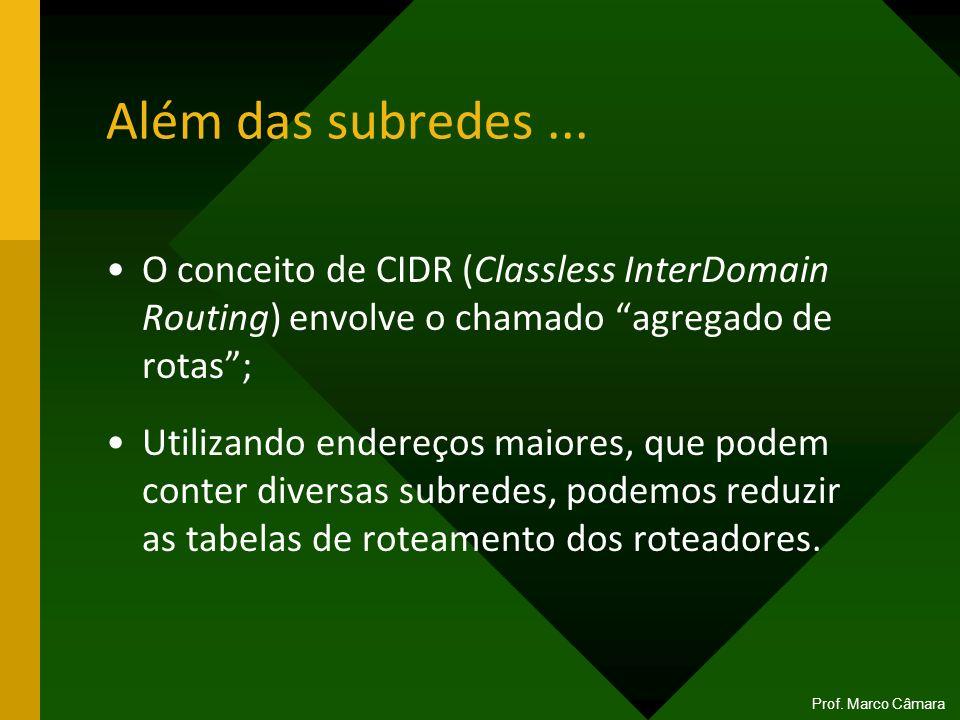 Além das subredes... O conceito de CIDR (Classless InterDomain Routing) envolve o chamado agregado de rotas; Utilizando endereços maiores, que podem c