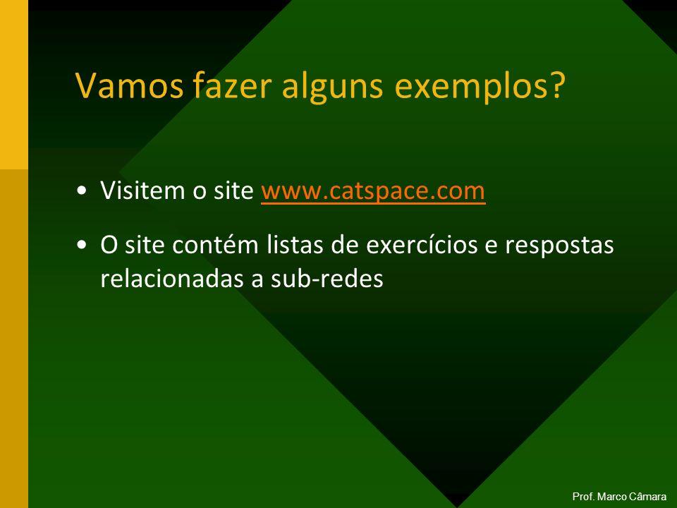 Vamos fazer alguns exemplos? Visitem o site www.catspace.comwww.catspace.com O site contém listas de exercícios e respostas relacionadas a sub-redes P