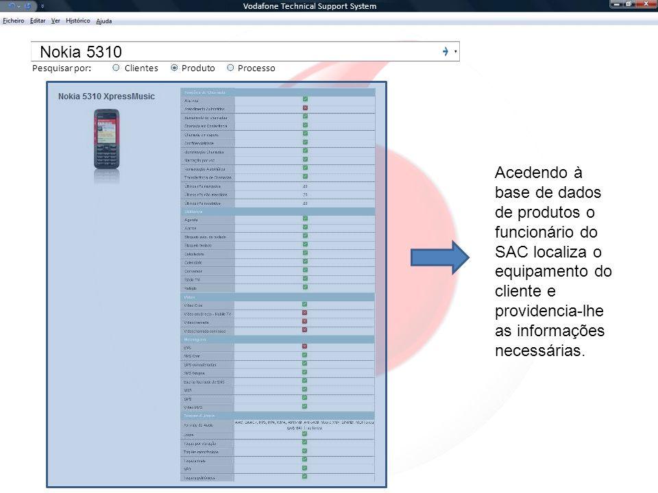 Vodafone Technical Support System Pesquisar por:ClientesProcessoProduto Nokia 5310 Acedendo à base de dados de produtos o funcionário do SAC localiza o equipamento do cliente e providencia-lhe as informações necessárias.