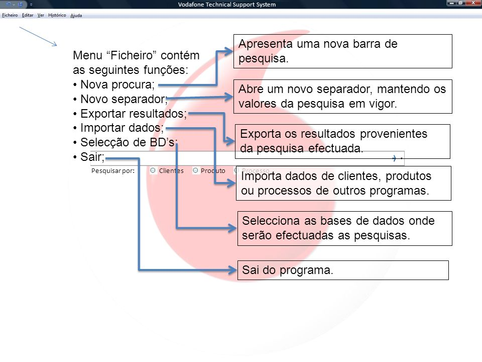 Vodafone Technical Support System Pesquisar por:ClientesProcessoProduto Menu Ficheiro contém as seguintes funções: Nova procura; Novo separador; Exportar resultados; Importar dados; Selecção de BDs; Sair; Apresenta uma nova barra de pesquisa.
